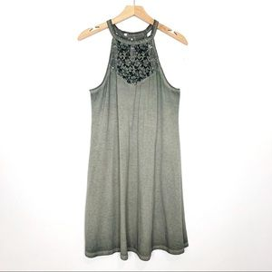 3/$25 Vintage 90s y2k high neck tank dress green